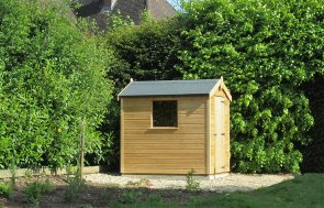 1.5 x 2.1m garden shed with an apex roof from our Classic Shed range, treated with a Light Oak Preservative