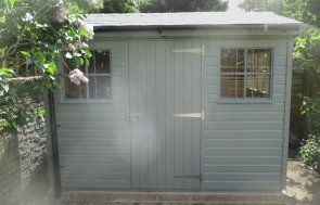 2.0 x 3.0m Superior Shed in Sage Green paint with Georgian Windows and an apex roof with grey slate effect tiles