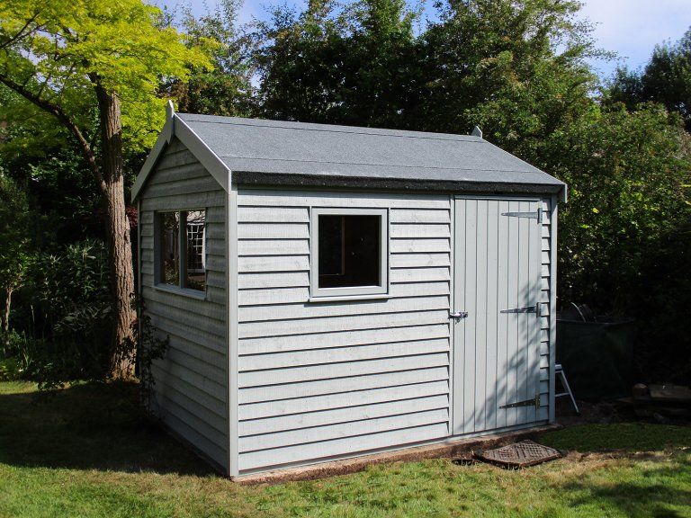Superior Shed with Weatherboard Cladding and Apex Roof painted in Verdigris.