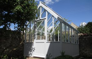 2.4 x 3.0m Greenhouse with Shiplap Cladding coated in Saltwater Exterior Paint
