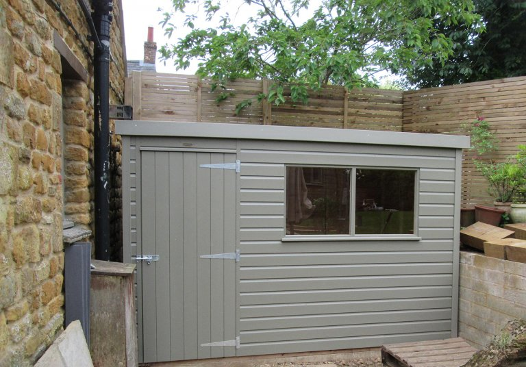 Classic Shed with Pent Roof painted in the colour Stone