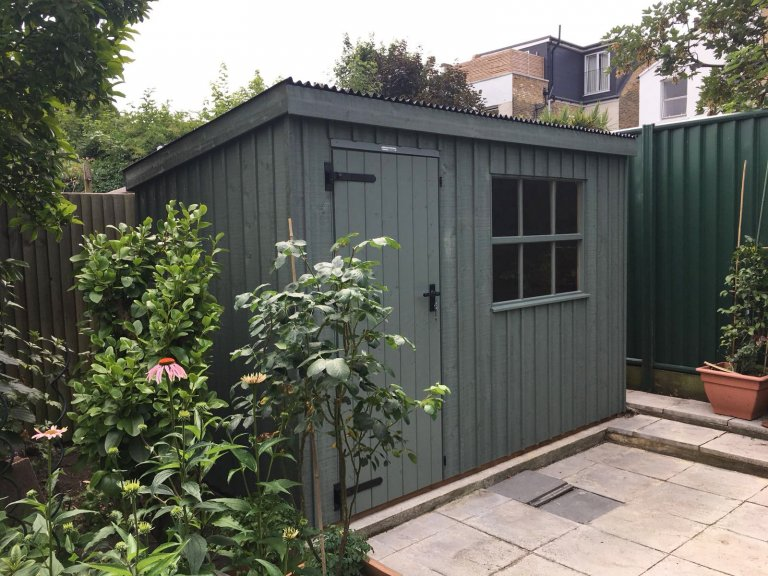 1.8 x 3.0m Oxburgh National Trust Shed painted in Terrace Green with pent roof design