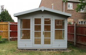 3.0 x 2.4m Blakeney Summerhouse with Shiplap Cladding coated in Verdigris and an Apex Roof with Overhang