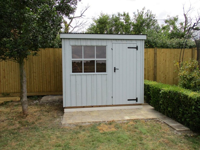 1.8 x 2.4m Oxburgh National Trust Shed in Painters Grey