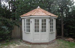3.0 x 3.0m Wiveton Summerhouse painted in Farrow & Ball Old White