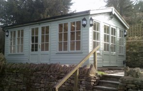3.6 x 5.4m Apex Garden Room with shiplap cladding painted in Lizard from our exterior paint system