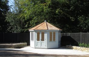 3.6 x 3.6m Wiveton Summerhouse with Shiplap Cladding painted in Verdigris