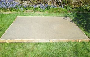 Concrete base installed in a customer's garden