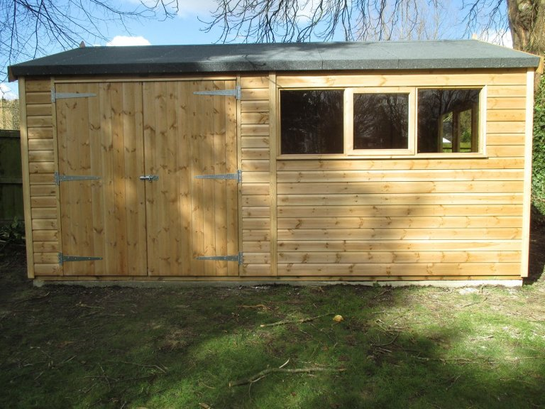 3.6 x 4.8m Superior Shed in Light Oak with an apex roof covered in our heavy duty roofing felt