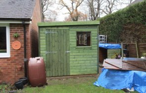 Superior Shed in Sikkens Green with Pent Roof and Single Window