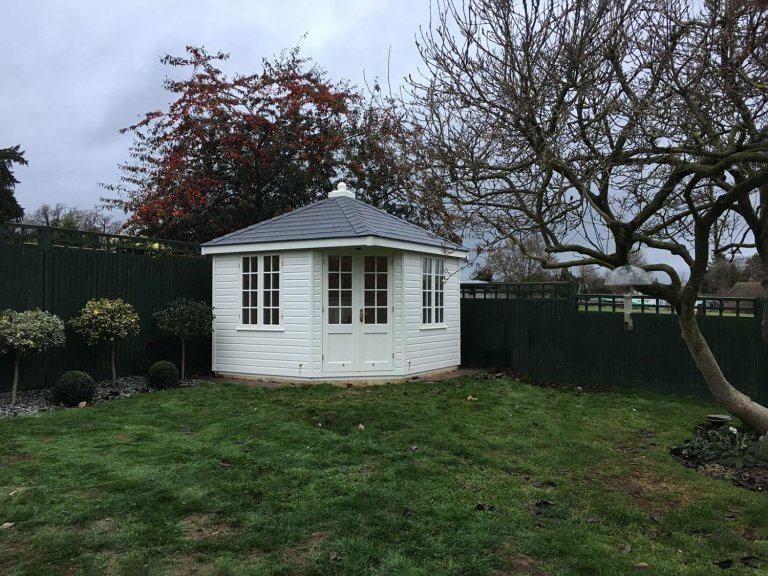 Weybourne Summerhouse painted in Ivory with Grey Slate Effect Tiles on the roof