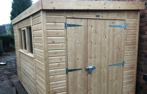 Superior Shed with Pent Roof covered in Heavy Duty Roofing Felt and Shiplap Cladding treated with a Light Oak Preservative