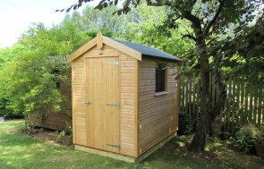 1.5 x 2.1 Classic Shed in Light Oak Preservative with Apex Roof and a Single Fixed Window