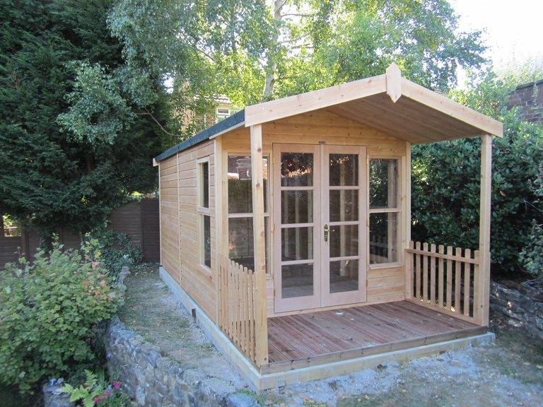 2.4 x 5.4m Morston Summerhouse in Light Oak Preservative with Heavy Duty Roofing Felt