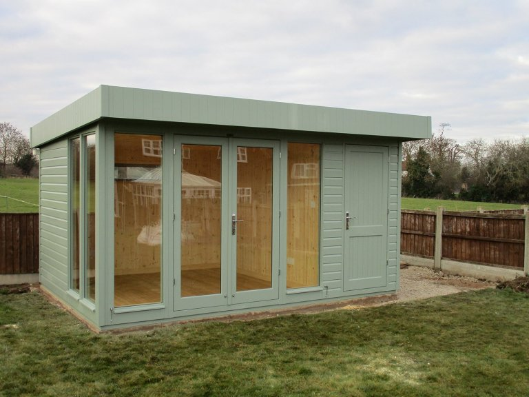 3.0 x 4.2m Salthouse Studio with Partition painted in Sage