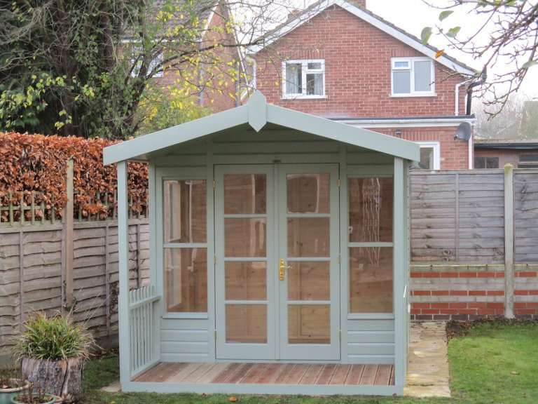 2.4 x 3.0m Morston Summerhouse with Shiplap Cladding coated in Lizard Exterior Paint