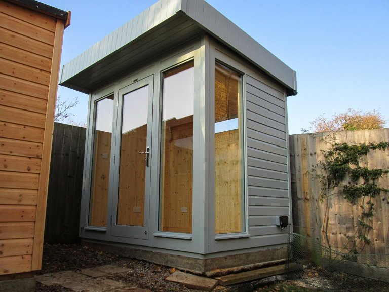 6 x 8ft Salthouse Studio with Shiplap Cladding coated in Pebble paint