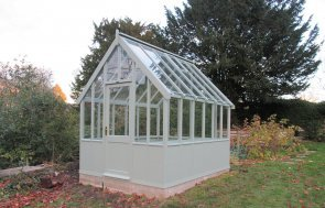 2.4 x 3.0m Greenhouse with Shiplap Cladding coated in Sage Paint