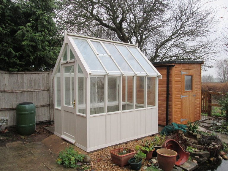 1.8 x 2.4m Traditional Timber Greenhouse with Shiplap Cladding coated in Twine paint