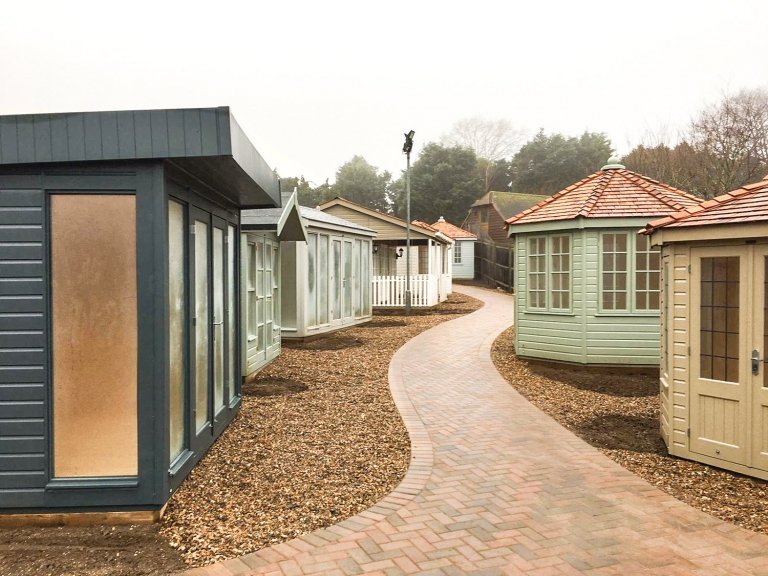 Summerhouses and Garden Studios installed at Cranleigh show site