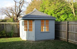 Wooden Corner Summerhouse with Slate Roof