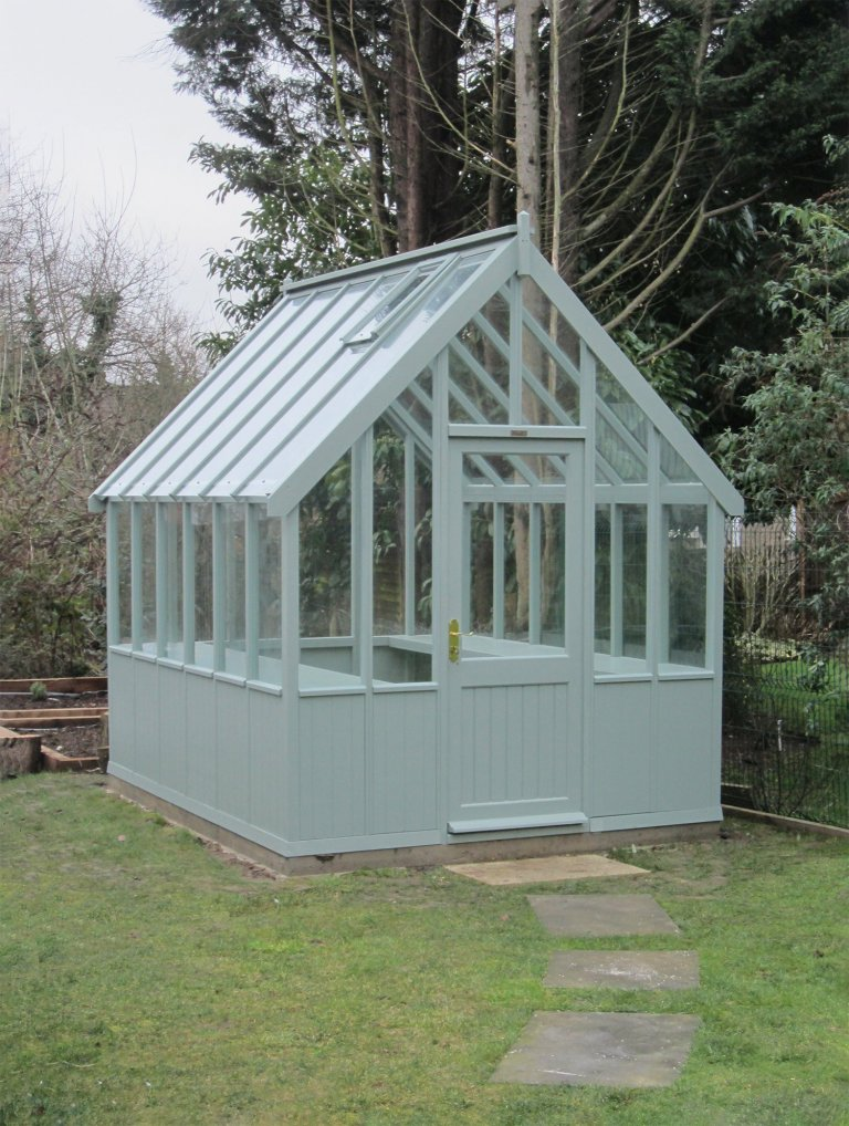 Traditional Timber Greenhouse in Sage
