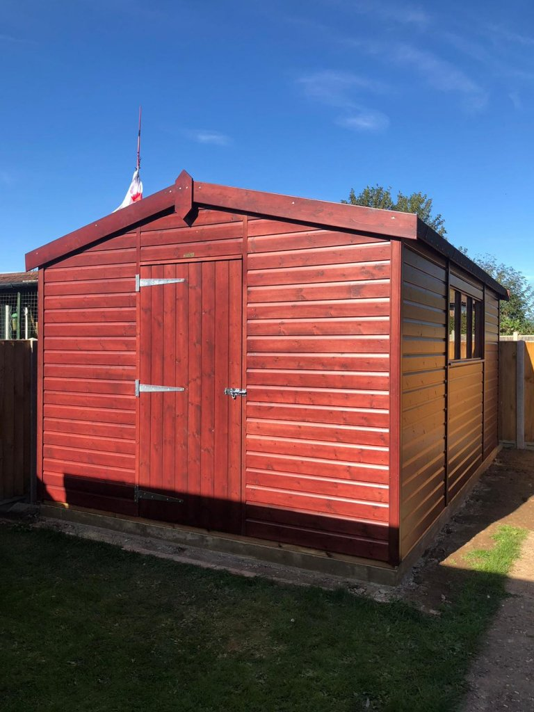 Large Shed in Rosewood Stain