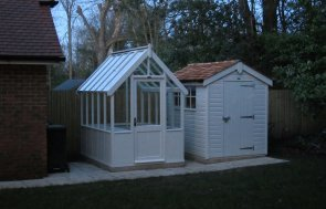 Greenhouse with Matching Timber Shed