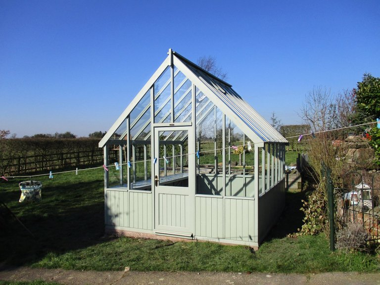Large Timber Greenhouse with Workbenches