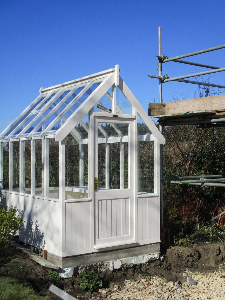 Small Timber Greenhouse Painted in Cream
