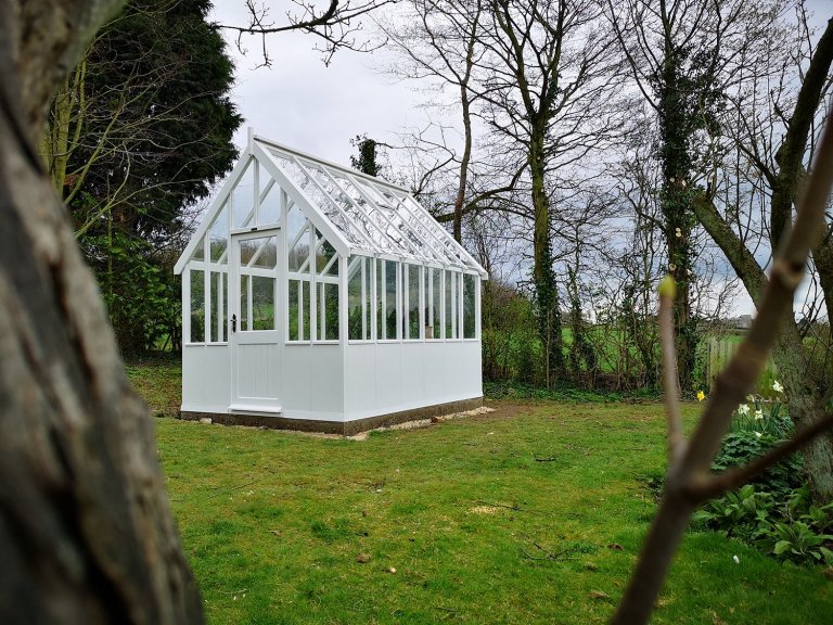 2.4 x 3.0m Greenhouse with Ivory Exterior and internal Workbench