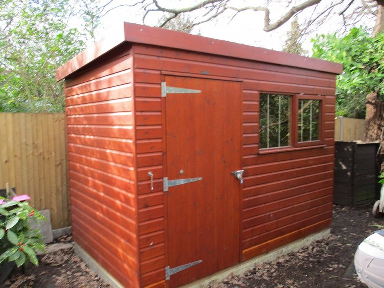 Timber Garden Shed in Mahogany Stain