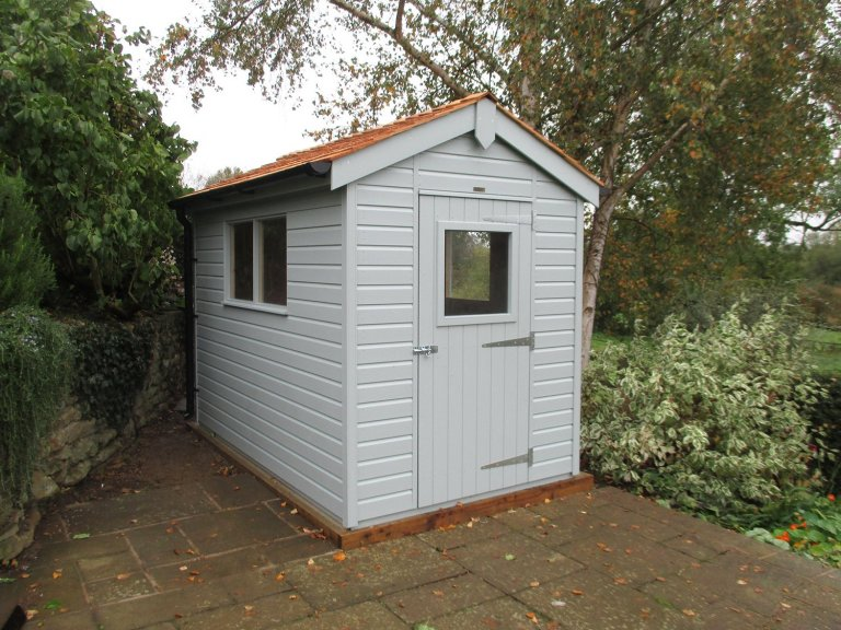 1.8 x 3.0m Superior Shed in Verdigris with Apex Roof covered in Cedar Shingle tiles