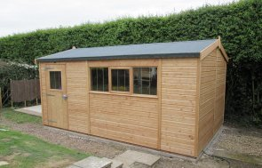3.0 x 4.8m Light Oak Superior Shed with Security Pack and Apex Roof covered in our Heavy Duty Roofing Felt