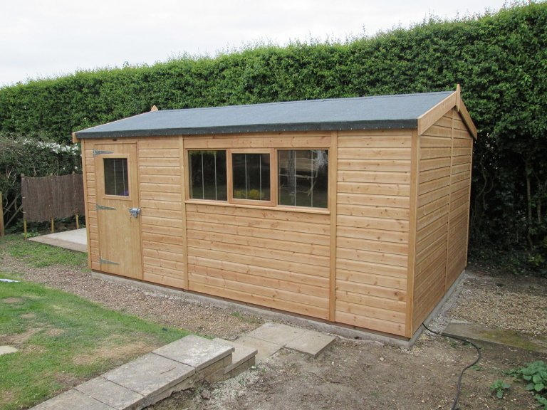 Light Oak Superior Shed with Security Pack