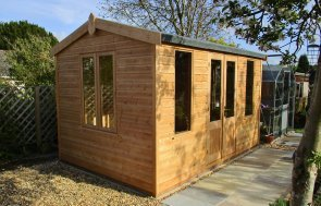 2.4 x 3.6m Holkham Summerhouse in Light Oak Preservative for use as a pretty potting and storage shed.