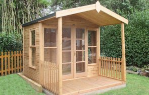 10 x 12ft Morston Summerhouse in Light Oak Preservative with Apex Roof covered in Heavy Duty Roofing Felt