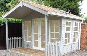 3.0 x 3.6m Morston Summerhouse in Pebble with Cedar Shingle Roof Tiles and White Guttering