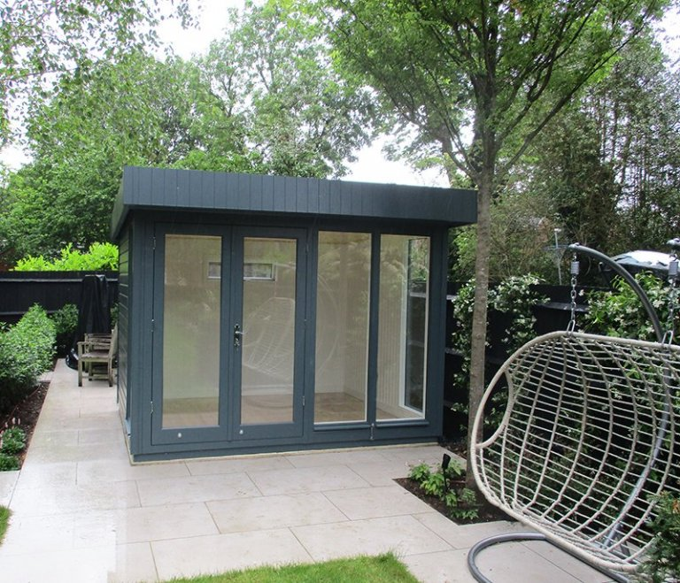 2.4 x 3.0m Salthouse Studio in Slate with Ivory painted matchboard