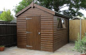 Superior Shed in Stikkens Walnut with apex heavy duty felt roof and black guttering