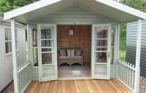 3.0 x 3.6m Morston Summerhouse at our Nottingham Show Site in Valtti Lizard