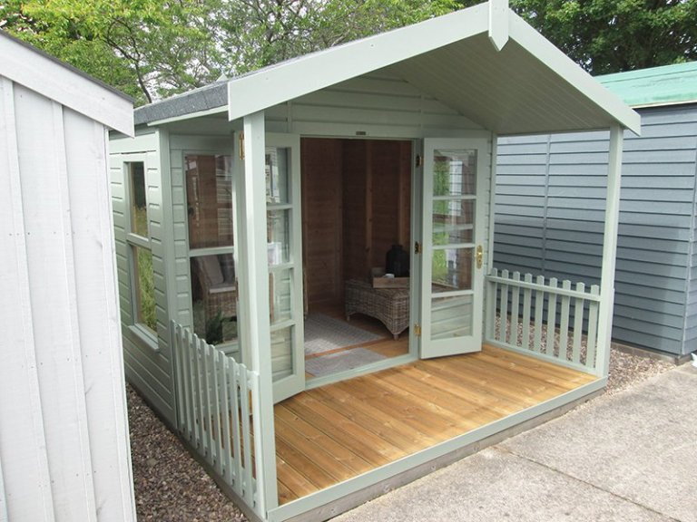 3.0 x 3.6m Morston Summerhouse at our Nottingham Show Site in shade Lizard