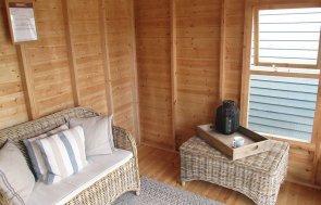 3.0 x 3.6m Morston Summerhouse at our Nottingham Show Site Interior with opening window