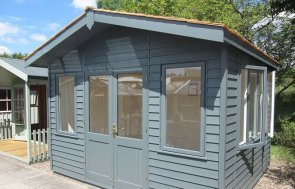 3.6 x 3.0m Binham Studio at our Nottingham Show Site in Farrow & Ball Down Pipe