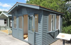 3.6 x 3.0m Binham Studio at our Nottingham Show Site with cedar shingle roof tiles in Farrow & Ball shade Down Pipe