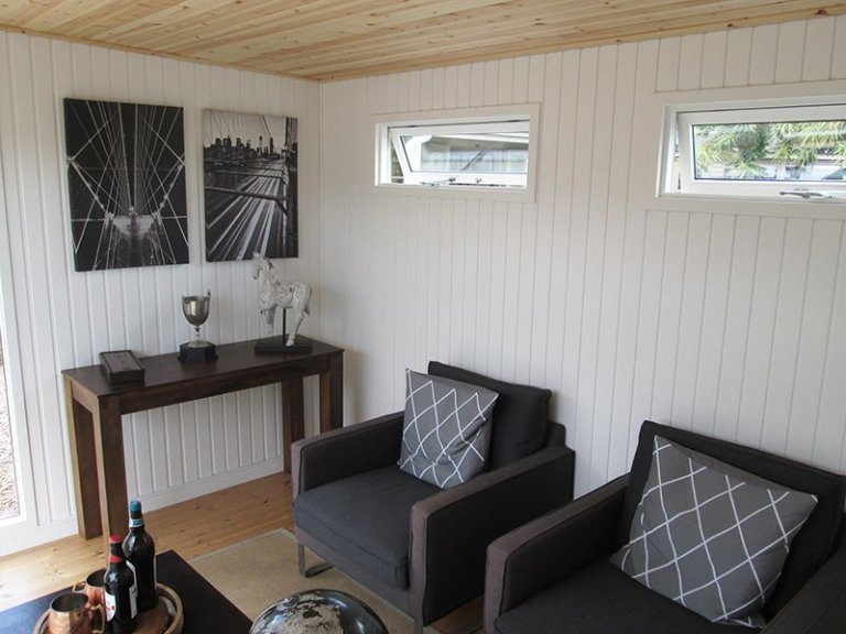 3.0 x 4.8 Salthouse Studio at our Nottingham Show Site with ivory painted matchboard lining