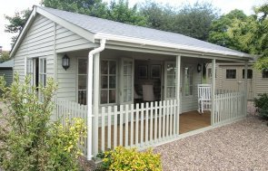 6_0 x 6_0m Pavilion Garden Room at our Nottingham Show Site in Farrow & Ball French Gray