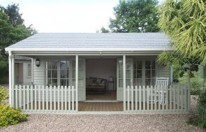 6.0 x 6.0m Pavilion Garden Room at our Nottingham Show Site in Farrow & Ball French Gray with Veranda
