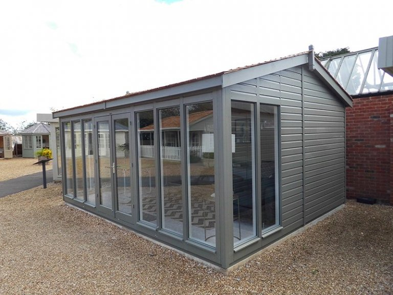 4.2 x 5.4m Burnham Studio at our Burford Show Site with cedar shingle tiles