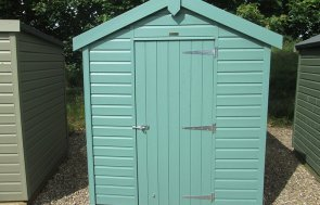 1.8 x 2.4m Classic Shed at our Nottingham Show Site in the shade Mint